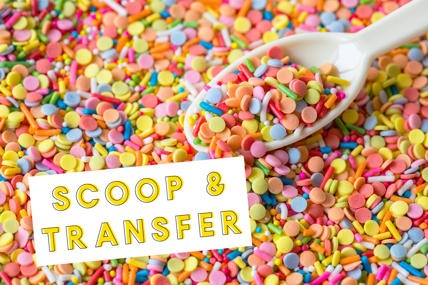 scoop and transfer sensory bin